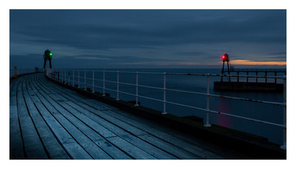 WHITBY HARBOUR ENTRANCE AT DAWN