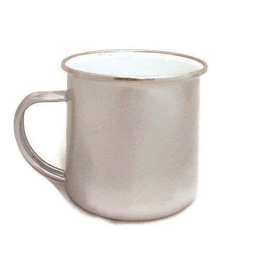 Vintage Enamel Mug-Silver