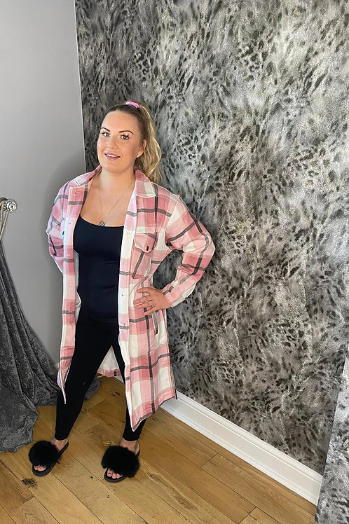 Pink Long Thick Colour Block Checked Shacket