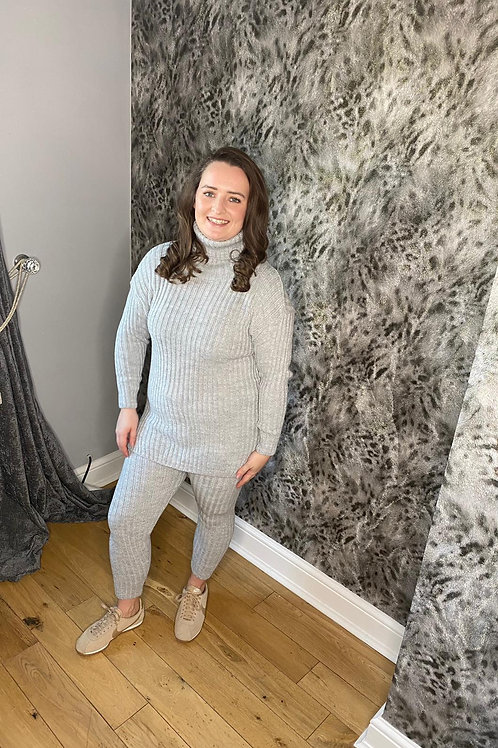 Grey Roll Neck Knitted Top & Trouser