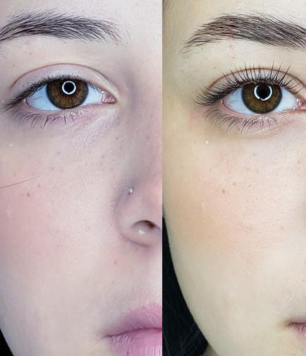 antes e depois brow lamination + lash li