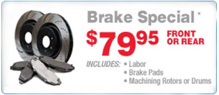 Brake Service Specia - Includes Pad and Labor