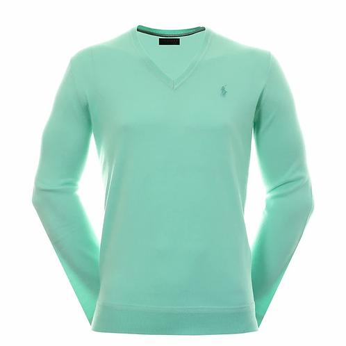 Polo New England Prep V Neck Sweater,  Green