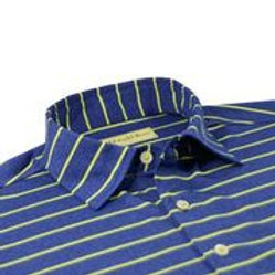 Donald Ross Compton Stripe Jersey, Navy Chartreuse