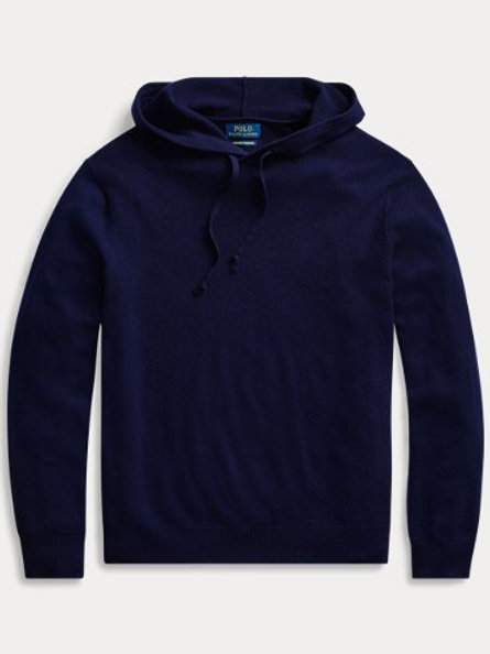 Polo Washable Cashmere Hoodie, Navy