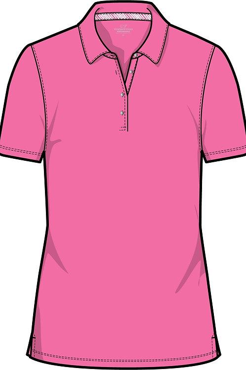 Vineyard Vines Performance Pique Polo Blank Pink Sherbet