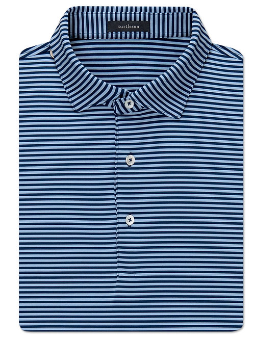 Turtelson Edward Stripe Performance Polo Navy/Sky