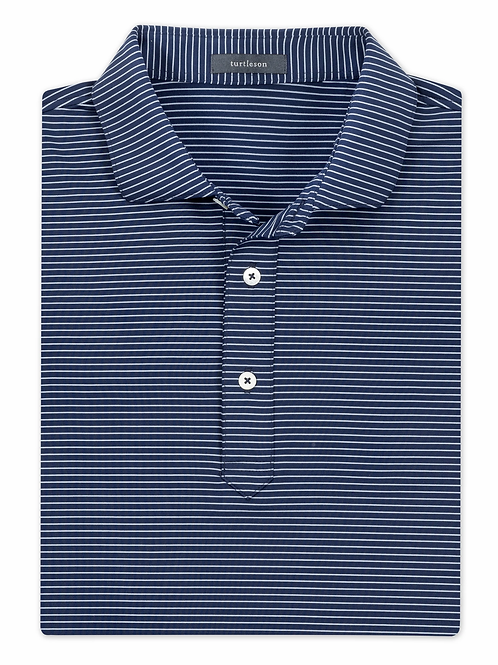 Turtelson All Day Striped Performance Polo Navy/Sky