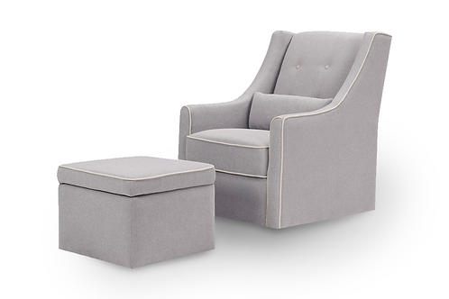 [AS-IS] Owen Chair and Ottoman (Grey with Cream Piping)