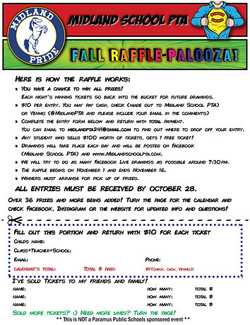 raffle palooze Flyer Midland School fron