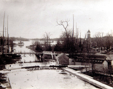 Swing bridge with bathhouse & fire hall
