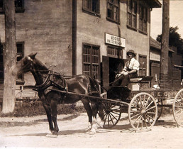 Moore's Waggon Shop with AE Bottom delivery wagon