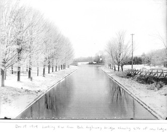 Dec 19, 1919, looking SW from Bobcaygeon highway bridge to site of a new lodge