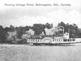 Esturion passing Cottage Point, Bobcaygeon