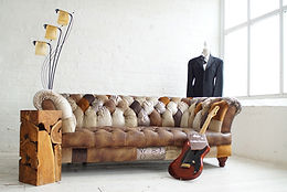 Victoria - 'Golden Brown' Patchwork Chesterfield Sofa