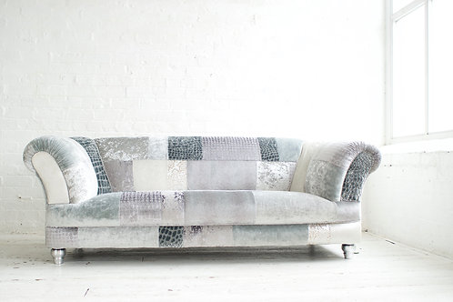 Chatsworth - 'Hi-Ho Silver' - Patchwork Contemporary Chesterfield Sofa