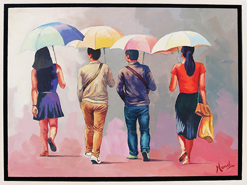 Beijing, China (Vier voetgangers met paraplu)