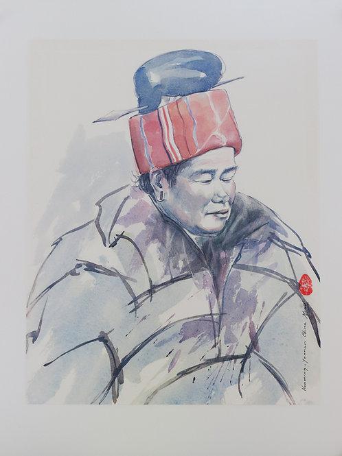 Kunming, Yunnan, China (Oude vrouw met rode muts)