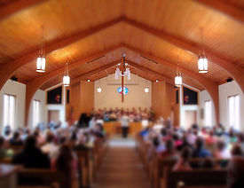 Worship service with choir in a sanctuary at Middlesettlements United Methodist Church