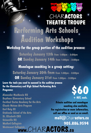 Performing Arts Programs - Audition Workshops 2018