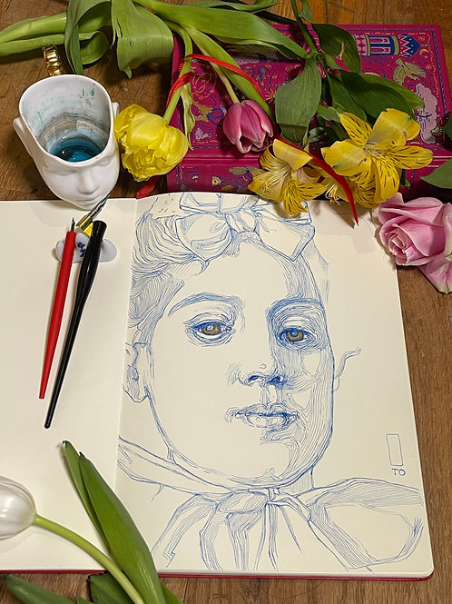 Drawing The Portrait with Ink,  August 14-15, 2021