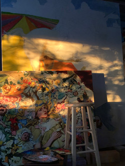 Dappled morning light in the studio