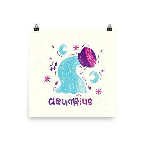 Aquarius Zodiac Symbol Poster in Colour
