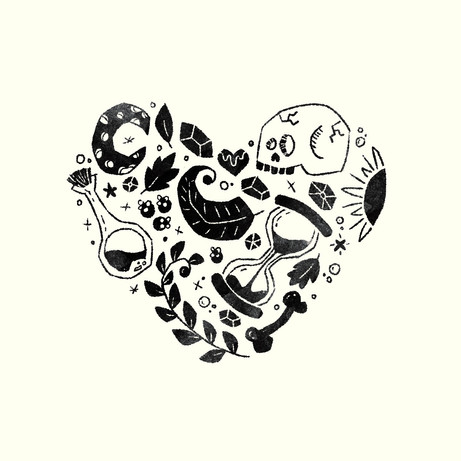 Heart Collage - Black/White