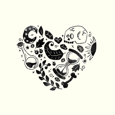 Heart Collage - Black/White