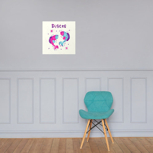 Pisces Zodiac Sign Poster in Colour