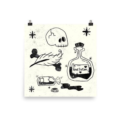 Love Potion Poster in Black/White