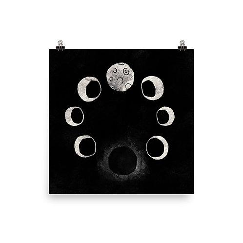 Illuminating Moon Cycles Poster