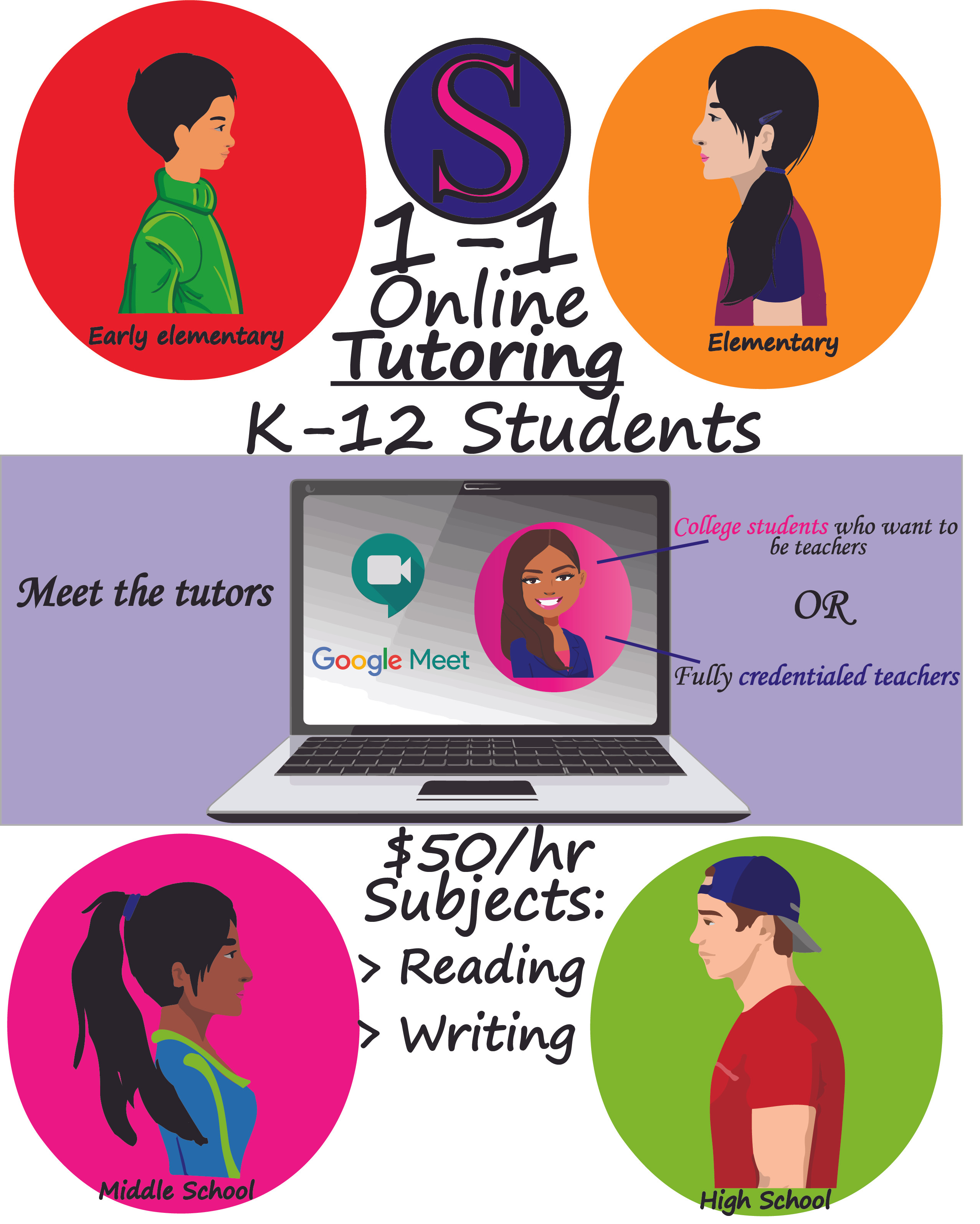 1-1 Online Tutoring K-12 Reading/Writing