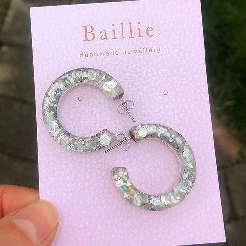 Mini Silver Glitter Hoops