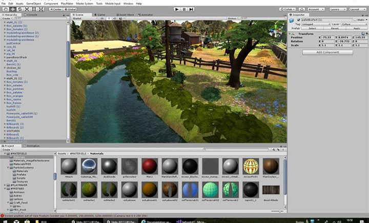 Interface of Unity 3D, the engine game.j