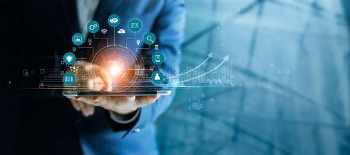 Businessman-using-tablet-analyzing-sales