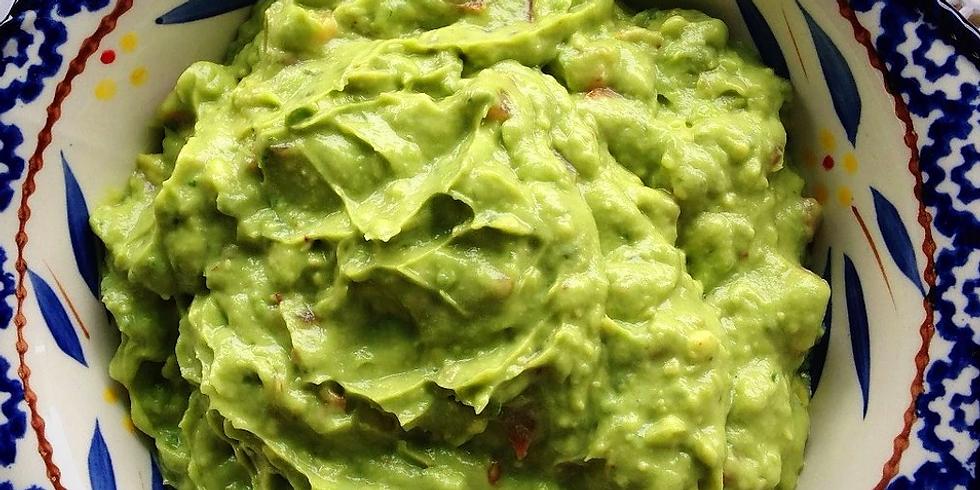Guacamole, Green Mexican rice and Green Enchiladas