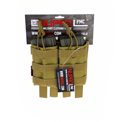 MOLLE Attachment straps. Holds upto 2 M4/M16 Style magazines. Elastic loops pull