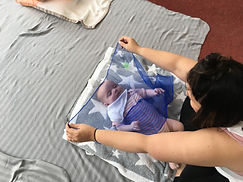 Baby and mother using sensory scarf