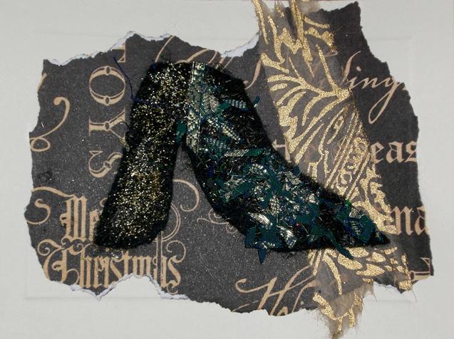 black shoe on gold