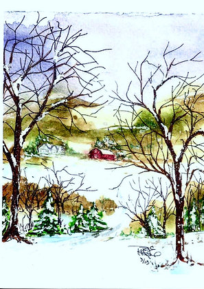 """""""Holiday Seclusion"""" with greeting inside card."""