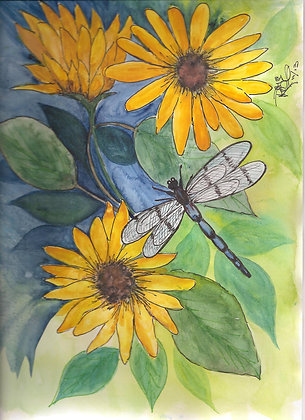 Sunflower Repose Dragonfly