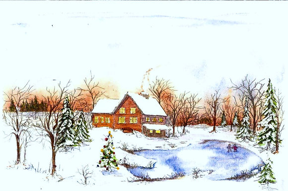 """Home for the Holidays"" with greeting inside card."