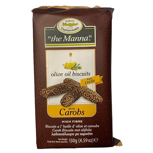 Handmade Olive Oil Biscuits with Carob 130g To Manna