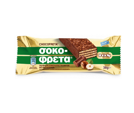 ION Chocofreta Milk Chocolate Covered Wafer with Hazelnuts 38g