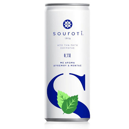 Natural Carbonated Mineral Water with Spearmint and Mint 330ml Souroti