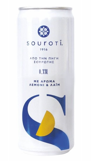 Natural Carbonated Mineral Water with Lemon and Lime  330ml Souroti