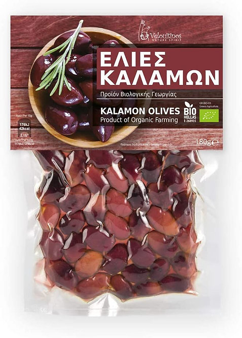Organic Kalamon Olives 180g Velouitinos