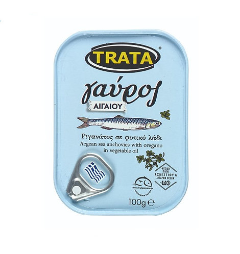 Aegean Sea Anchovies (Gavros) With Oregano In Vegetable Oil 100g Trata