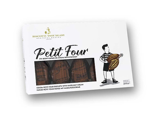Cocoa Petit Four Biscuits with Hazelnut Cream 300g Biscotti Tsoungari